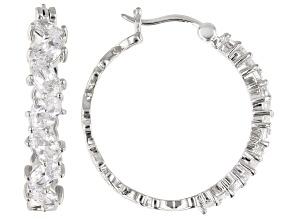 White Cubic Zirconia Rhodium Over Sterling Silver Hoop Earrings 4.79ctw