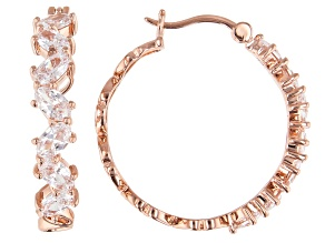 White Cubic Zirconia 18K Rose Gold Over Sterling Silver Hoop Earrings 4.79ctw