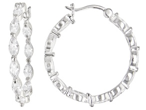 White Cubic Zirconia Rhodium Over Sterling Silver Hoop Earrings 5.24ctw