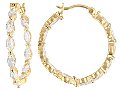 White Cubic Zirconia 18K Yellow Gold Over Sterling Silver Hoop Earrings 5.24ctw