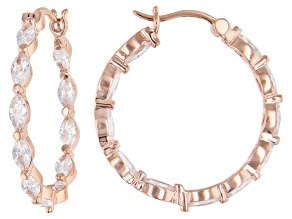 White Cubic Zirconia 18K Rose Gold Over Sterling Silver Hoop Earrings 5.24ctw