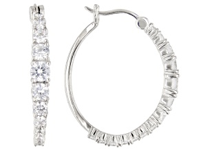 White Cubic Zirconia Rhodium Over Sterling Silver Hoop Earrings 4.00ctw