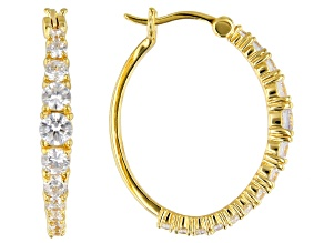 White Cubic Zirconia 18K Yellow Gold Over Sterling Silver Hoop Earrings 4.00ctw