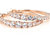 White Cubic Zirconia 18K Rose Gold Over Sterling Silver Hoop Earrings 4.00ctw