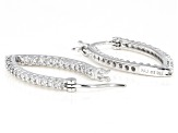 White Cubic Zirconia Rhodium Over Sterling Silver Inside Out Hoop Earrings 1.46ctw
