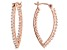 White Cubic Zirconia 18K Rose Gold Over Sterling Silver Inside Out Hoop Earrings 1.46ctw
