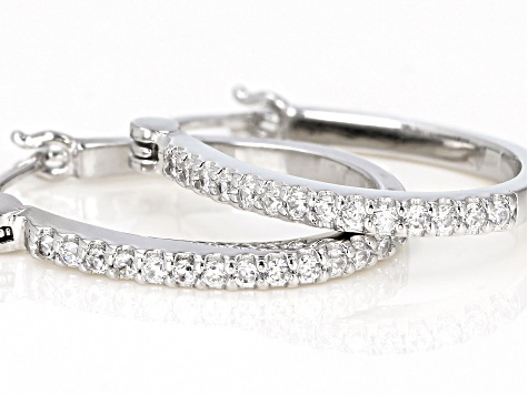 White Cubic Zirconia Rhodium Over Sterling Silver Hoop Earrings 0.75ctw