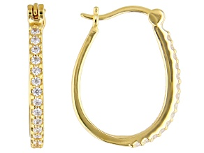 White Cubic Zirconia 18K Yellow Gold Over Sterling Silver Hoop Earrings 0.75ctw