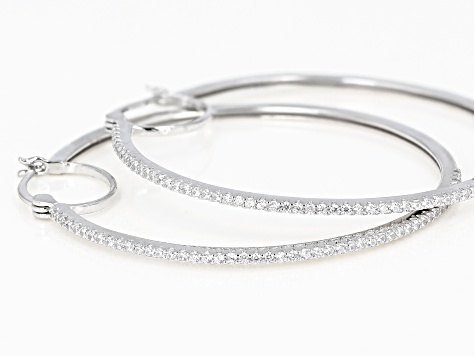 White Cubic Zirconia Rhodium Over Sterling Silver Hoop Earrings 1.54ctw