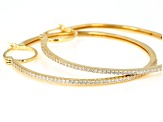 White Cubic Zirconia 18K Yellow Gold Over Sterling Silver Hoop Earrings 1.54ctw