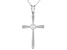 White Cubic Zirconia Rhodium Over Sterling Silver Cross Pendant With Chain 0.17ctw