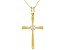 White Cubic Zirconia 18K Yellow Gold Over Sterling Silver Cross Pendant With Chain 0.17ctw