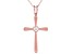 White Cubic Zirconia 18K Rose Gold Over Sterling Silver Cross Pendant With Chain 0.17ctw