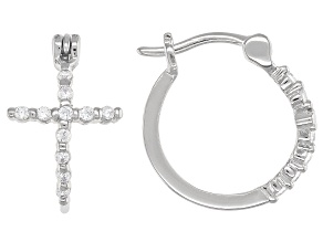 White Cubic Zirconia Rhodium Over Sterling Silver Cross Hoop Earrings 0.34ctw
