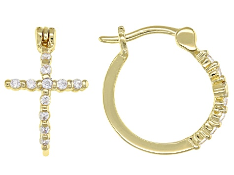 White Cubic Zirconia 18K Yellow Gold Over Sterling Silver Cross Hoop Earrings 0.34ctw
