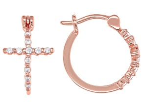 White Cubic Zirconia 18K Rose Gold Over Sterling Silver Cross Hoop Earrings 0.34ctw