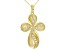 White Cubic Zirconia 18K Yellow Gold Over Sterling Silver Cross Pendant With Chain 0.32ctw