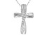 White Cubic Zirconia Rhodium Over Sterling Silver Cross Pendant With Chain 0.05ctw