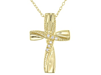 Picture of White Cubic Zirconia 18K Yellow Gold Over Sterling Silver Cross Pendant With Chain 0.05ctw