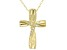 White Cubic Zirconia 18K Yellow Gold Over Sterling Silver Cross Pendant With Chain 0.05ctw
