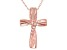 White Cubic Zirconia 18K Rose Gold Over Sterling Silver Cross Pendant With Chain 0.05ctw