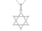 White Cubic Zirconia Rhodium Over Sterling Silver Star of David Pendant With Chain 0.75ctw