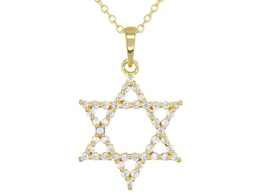 White Cubic Zirconia 18K Yellow Gold Over Sterling Silver Star Of David Pendant With Chain 0.75ctw