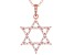 White Cubic Zirconia 18K Rose Gold Over Sterling Silver Star Of David Pendant With Chain 0.75ctw