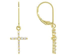 White Cubic Zirconia 18K Yellow Gold Over Sterling Silver Cross Earrings 0.34ctw