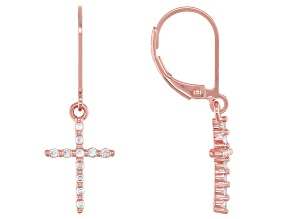 White Cubic Zirconia 18K Rose Gold Over Sterling Silver Cross Earrings 0.34ctw