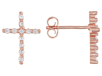 Picture of White Cubic Zirconia 18K Rose Gold Over Sterling Silver Cross Earrings 0.34ctw