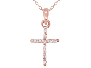 White Cubic Zirconia 18K Rose Gold Over Sterling Silver Cross With Chain 0.17ctw
