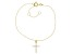 White Cubic Zirconia 18K Yellow Gold Over Sterling Silver Cross Bracelet 0.17ctw