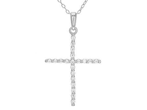 White Cubic Zirconia Rhodium Over Sterling Silver Cross Pendant With Chain 0.31ctw