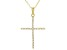 White Cubic Zirconia 18K Yellow Gold Over Sterling Silver Cross Pendant With Chain 0.31ctw