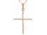 White Cubic Zirconia 18K Rose Gold Over Sterling Silver Cross Pendant With Chain 0.31ctw