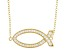 White Cubic Zirconia 18K Yellow Gold Over Sterling Silver Fish Necklace 0.63ctw