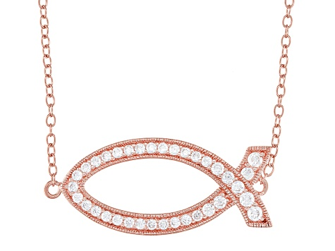 White Cubic Zirconia 18K Rose Gold Over Sterling Silver Fish Necklace 0.63ctw
