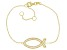 White Cubic Zirconia 18K Yellow Gold Over Sterling Silver Fish Bracelet 0.63ctw