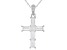 White Cubic Zirconia Rhodium Over Sterling Silver Cross Pendant With Chain 2.41ctw