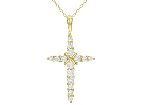 White Cubic Zirconia 18K Yellow Gold Over Sterling Silver Cross Pendant With Chain 1.11ctw