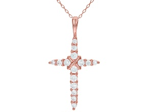 White Cubic Zirconia 18K Rose Gold Over Sterling Silver Cross With Pendant 1.11ctw