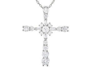 White Cubic Zirconia Rhodium Over Sterling Silver Cross Pendant With Chain 1.81ctw