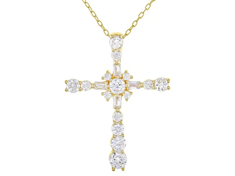 White Cubic Zirconia 18K Yellow Gold Over Sterling Silver Cross Pendant With Chain 1.81ctw
