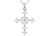 White Cubic Zirconia Rhodium Over Sterling Silver Cross Pendant With Chain 1.94ctw