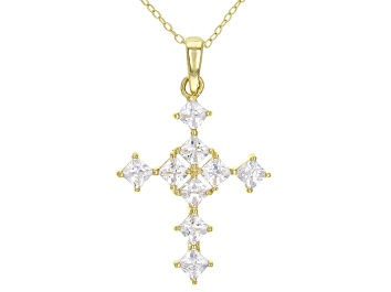 Picture of White Cubic Zirconia 18K Yellow Gold Over Sterling Silver Cross Pendant With Chain 1.94ctw