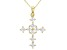 White Cubic Zirconia 18K Yellow Gold Over Sterling Silver Cross Pendant With Chain 1.94ctw