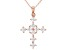 White Cubic Zirconia 18K Rose Gold Over Sterling Silver Cross Pendant With Chain 1.94ctw
