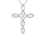 White Cubic Zirconia Rhodium Over Sterling Silver Cross Pendant With Chain 1.03ctw