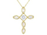 White Cubic Zirconia 18K Yellow Gold Over Sterling Silver Cross Pendant With Chain 1.03ctw